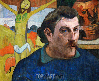 Self Portrait with Yellow Christ, c.1890/91 | Gauguin| Gemälde Reproduktion