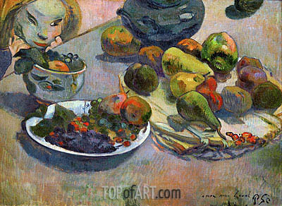 Still Life with Fruits, 1888 | Gauguin| Gemälde Reproduktion