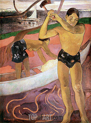 The Man with an Axe, 1891 | Gauguin | Painting Reproduction