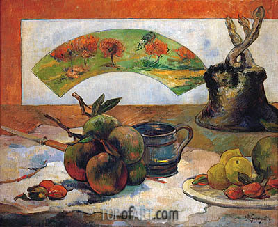 Still Life with Fruits and Fan, 1888 | Gauguin| Gemälde Reproduktion