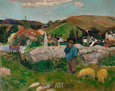 The Swineherd (Peasants with Pigs), 1888 | Gauguin| Painting Reproduction