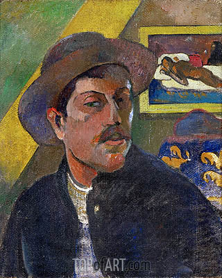 Self Portrait with Hat In the Background Manao Tupapau, c.1893/94 | Gauguin | Gemälde Reproduktion