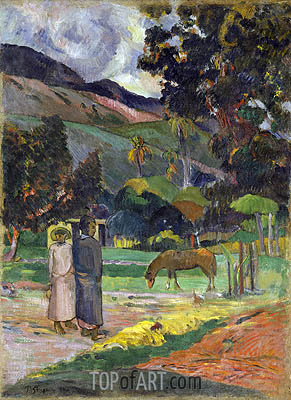 Tahitian Landscape, undated | Gauguin| Painting Reproduction