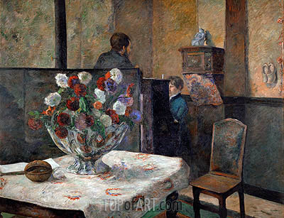Still Life with Flowers (Interior of the Artist's Apartment on Rue Carcel, Paris), undated | Gauguin | Painting Reproduction