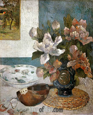 Still life with Peonies and Mandolin, 1885 | Gauguin | Gemälde Reproduktion