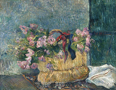Still Life with Moss Roses in a Basket, 1886 | Gauguin | Gemälde Reproduktion
