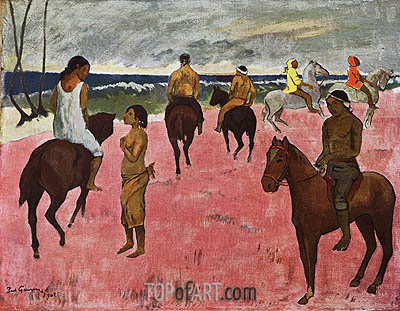 On Horseback at Seashore, 1902 | Gauguin | Painting Reproduction