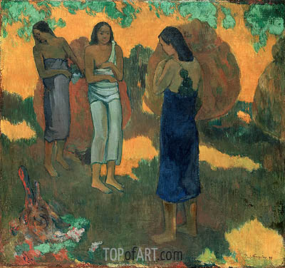 Three Tahitian Women Against a Yellow Background, 1899 | Gauguin | Painting Reproduction