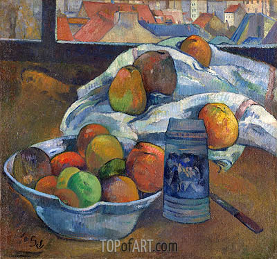 Bowl of Fruit and Tankard before a Window, c.1890 | Gauguin | Painting Reproduction