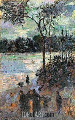 The Fire at the River Bank, 1886 | Gauguin| Painting Reproduction