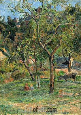 An Orchard under the Church of Bihorel, 1884 | Gauguin| Gemälde Reproduktion