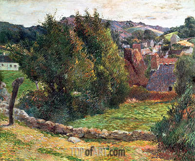 Landscape on the Pont-Aven, 1886 | Gauguin | Painting Reproduction