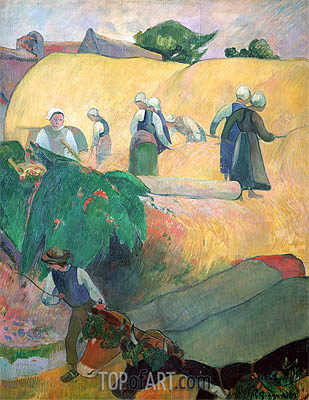 Haymaking, 1889 | Gauguin| Painting Reproduction