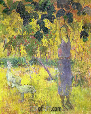 Man Picking Fruit from a Tree, 1897 | Gauguin| Gemälde Reproduktion