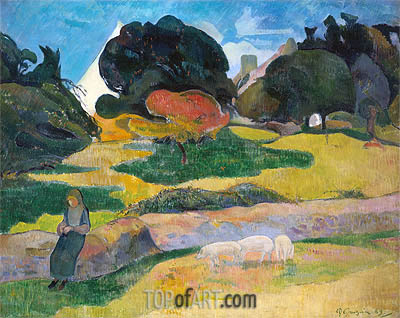 Girl Herding Pigs, 1889 | Gauguin | Painting Reproduction