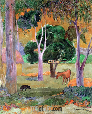 Dominican Landscape or, Landscape with a Pig and Horse, 1903 | Gauguin | Painting Reproduction