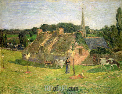 Lollichon's Field and the Church of Pont-Aven, 1886 | Gauguin | Painting Reproduction