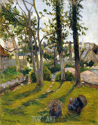 The Turkeys (Pont Aven Landscape), 1888 | Gauguin| Painting Reproduction
