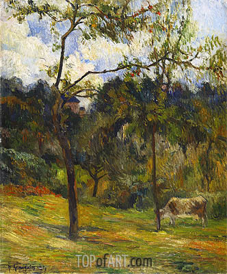 Normandy Landscape: Cow in a Meadow, 1884 | Gauguin | Painting Reproduction