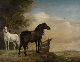 Two Horses in a Meadow near a Gate, 1649 by Paulus Potter | Painting Reproduction