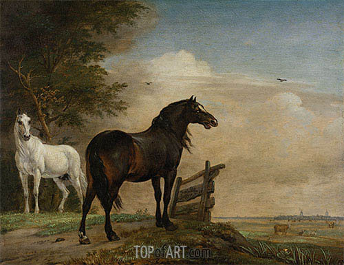 Two Horses in a Meadow near a Gate, 1649 | Paulus Potter| Painting Reproduction