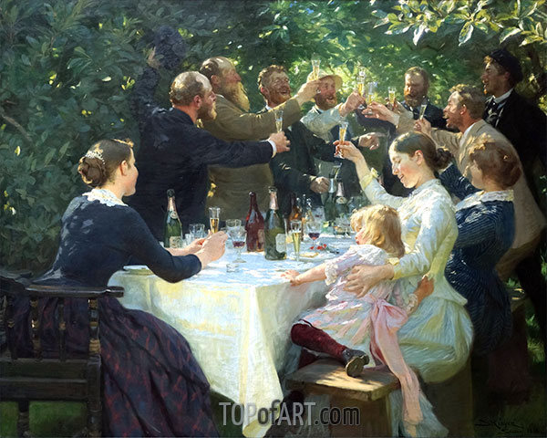 Hip, Hip, Hurrah! Artist Festival at Skagen, 1888 | Peder Severin Krøyer | Painting Reproduction