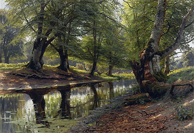 Peder Monsted | A Stream Through the Glen, Deer in the Distance, 1905