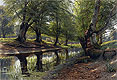 A Stream Through the Glen, Deer in the Distance | Peder Monsted
