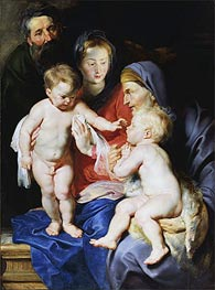 The Holy Family with Elizabeth & John the Baptist, c.1614/15 von Rubens | Gemälde-Reproduktion