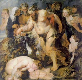 Drunken Bacchus and Satyrs (Silenus), c.1617/18 by Rubens | Painting Reproduction