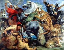 Tiger, Lion and Leopard Hunt, 1616 by Rubens | Painting Reproduction