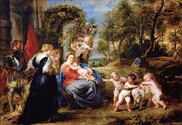 Rest on the Flight from Egypt with Saints, c.1635 by Rubens | Painting Reproduction