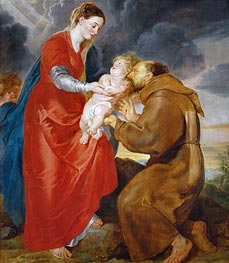 The Virgin Presents the Infant Jesus to Saint Francis, 1618 by Rubens | Painting Reproduction