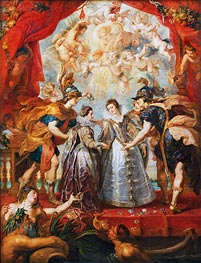 Exchange of the Two Princesses of France and Spain, 9th November 1615 (The Medici Cycle), c.1621/25 by Rubens | Painting Reproduction