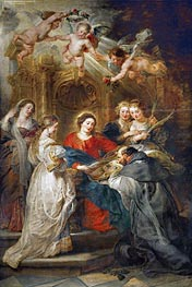 Virgin Mary Presenting a Liturgical Robe to St. Ildefonso (Central Panel of the Ildefonso Altar), c.1630/32 by Rubens | Painting Reproduction