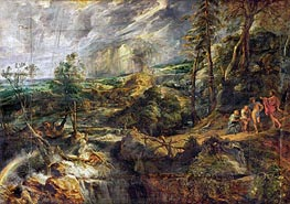 Landscape in a thunderstorm with Philemon and Baucis, Jupiter and Mercury, c.1620/25 by Rubens | Painting Reproduction