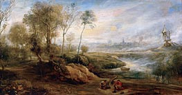 Landscape with Birdcatcher, undated by Rubens | Painting Reproduction
