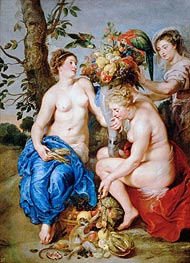 Ceres with Two Nymphs, c.1624 by Rubens | Painting Reproduction