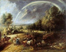 Landscape with Rainbow, c.1636 von Rubens | Gemälde-Reproduktion