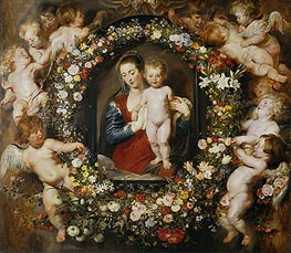 Virgin with a Garland of Flowers,  c.1618/20 von Rubens | Gemälde-Reproduktion