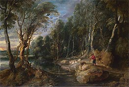 A Shepherd with his Flock in a Woody Landscape, c.1615/22 von Rubens | Gemälde-Reproduktion