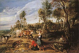 Milkmaids with Cattle in a Landscape (The Farm at Laken) | Rubens | Gemälde Reproduktion