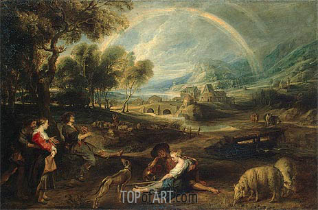 Landscape with a Rainbow, c.1630/35 | Rubens| Painting Reproduction