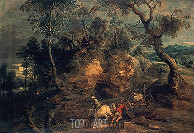 Landscape with Stone Carriers, c.1620 | Rubens| Painting Reproduction