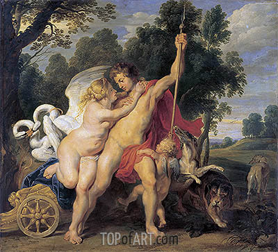 Venus and Adonis, c.1615 | Rubens| Painting Reproduction