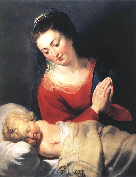 Virgin in Adoration before the Christ Child, c.1615 | Rubens | Gemälde Reproduktion