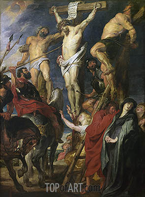 Christ on the Cross between the Two Thieves, 1620 | Rubens | Gemälde Reproduktion