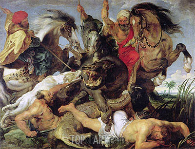 Hippopotamus and Crocodile Hunt, 1616 | Rubens | Painting Reproduction