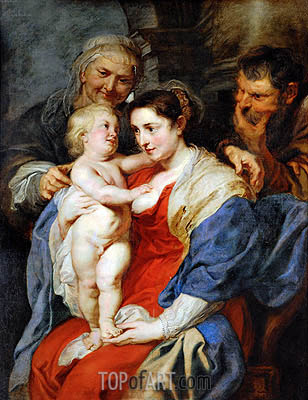 The Holy Family with Saint Anne, c.1628 | Rubens| Painting Reproduction
