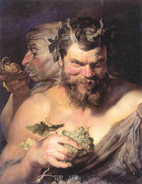 Two Satyrs, c.1618/19 | Rubens | Painting Reproduction